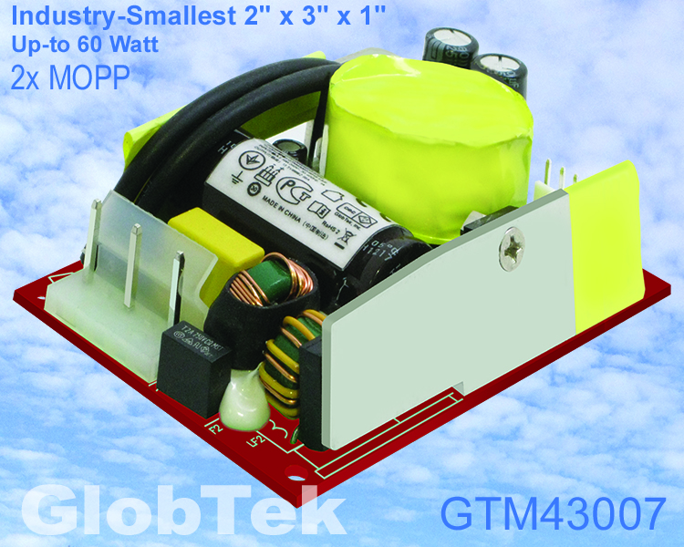"GlobTek Introduces One of Industry-Smallest 2"" x 3"" x 1"", Up to 60 Watt Universal Input Regulated Switchmode AC-DC Open Frame Power Supply for ITE, Medical and Household Applications!"